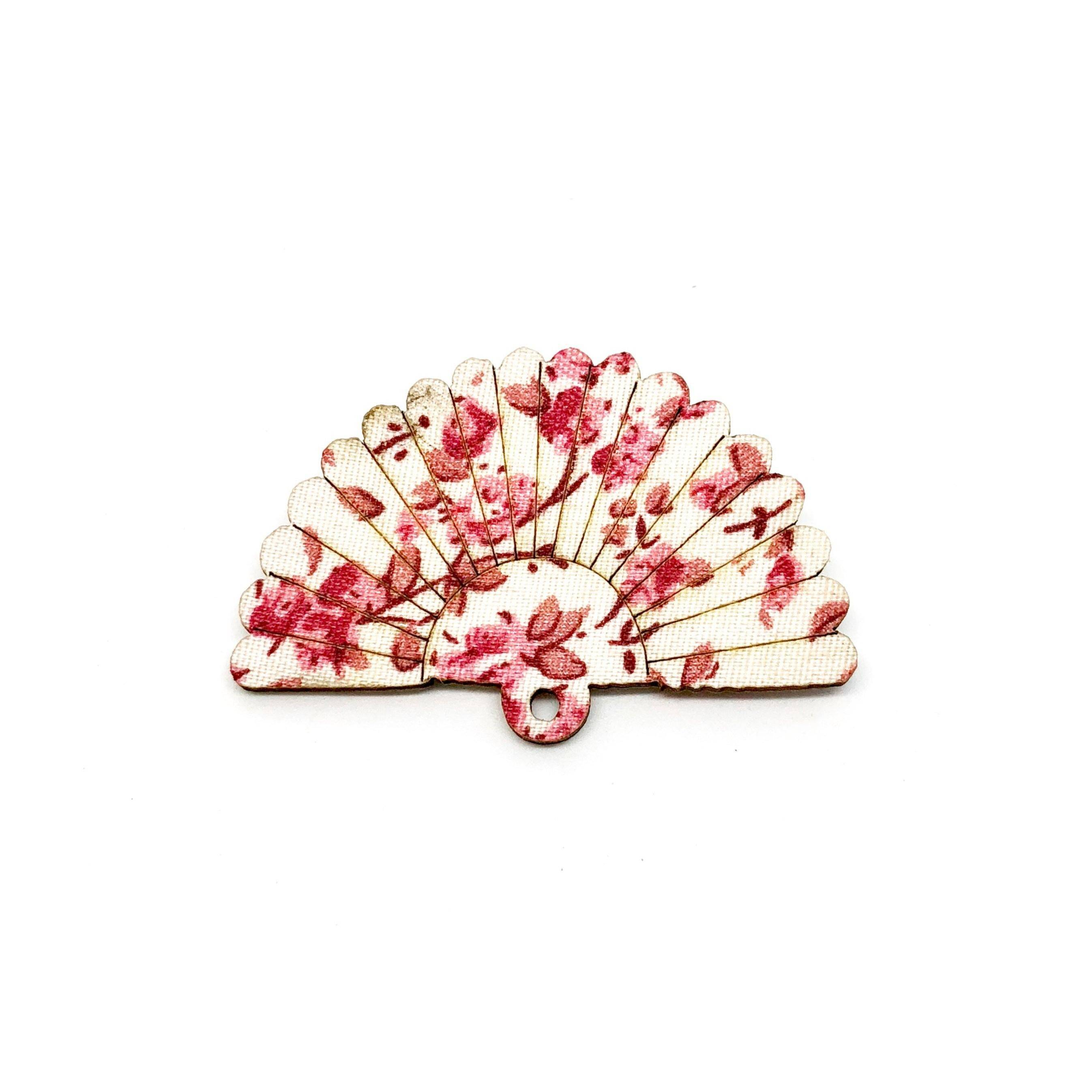 Rose Kimono Sakura Fan Wooden Brooch Pin - Brooches - Paperdaise Accessories - Naiise