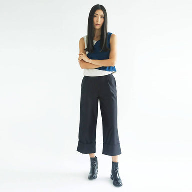 Rosenburg Wide Leg Trousers in Graphite Black Women's Pants Salient Label
