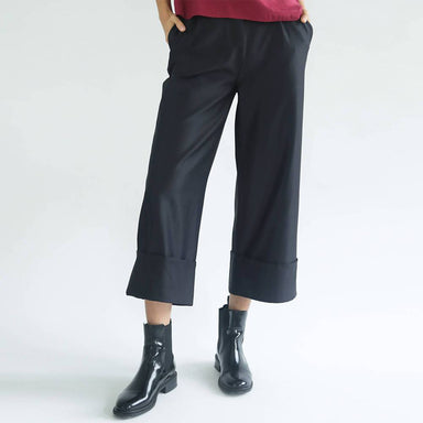 Rosenburg Wide Leg Trousers in Graphite Black - Women's Pants - Salient Label - Naiise