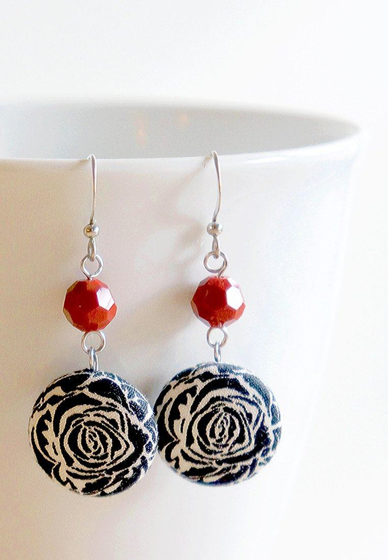 Rosette Dangle Earrings Earrings Paperdaise Accessories