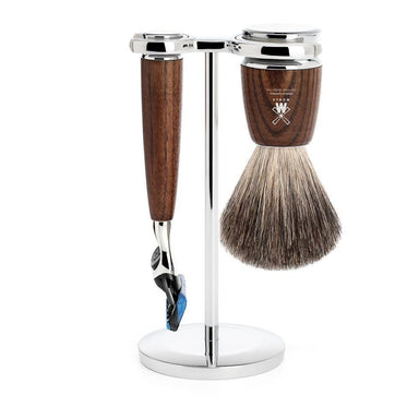 Rytmo shaving set, steamed ash with Gillette Fusion razor - Shaving Set - MÜHLE Singapore - Naiise