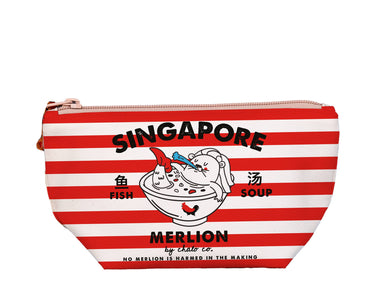 "SG Merlion Soup Medium Pouch Local Pouches Chalo P001 Red Stripes 9 3/4""W x 5""H x 3"" D"
