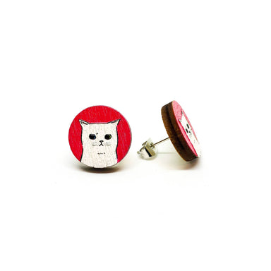 Sad Little White Cat Wooden Earrings Earrings Paperdaise Accessories