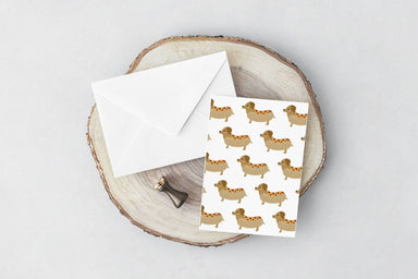 Sausage Dog(White) Card Generic Greeting Cards YOUNIVERSE DESIGN