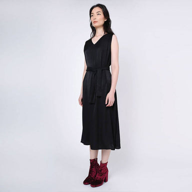 Savanna Cupro Flare Dress in Anthracite - Dresses - Salient Label - Naiise