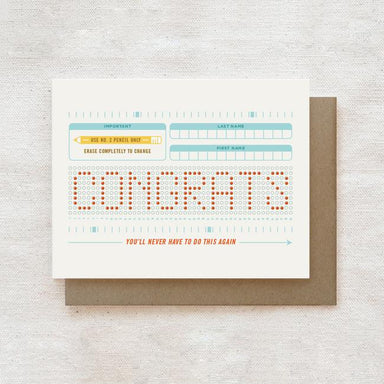 Scantron - Graduation Greeting Card Graduation Cards Quirky Paper Co.