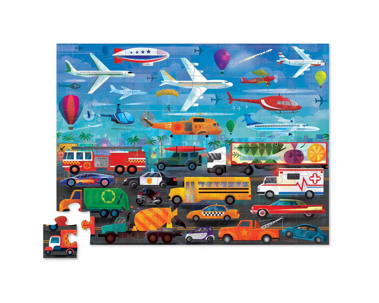 48-pc Above & Below Puzzle - Things that Go - Kids Puzzles - The Children's Showcase - Naiise