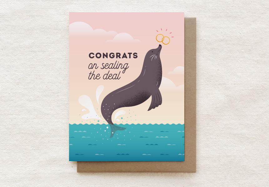 Sealing the Deal - Engagement, Wedding Greeting Card Wedding Milestone Cards Quirky Paper Co.