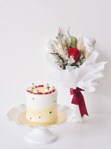 Sending my well wishes to you- Cake & Flower Bouquet - New Arrivals - Zee and Elle Cakes - Naiise