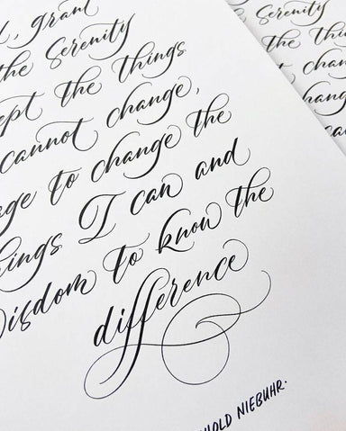 "Serenity Prayer by Reinhold Niebuhr - Calligraphy Art Print Prints Leah Design A3 (16.53"" x 11.69"")"