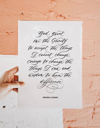 "Serenity Prayer by Reinhold Niebuhr - Calligraphy Art Print Prints Leah Design A4 (11.69"" x 8.27"")"