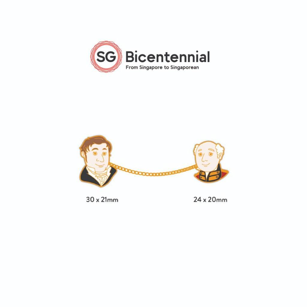 SG Bicentennial Our Iconic Duos - Raffles-Farquhar Pins Local Pins Naiise