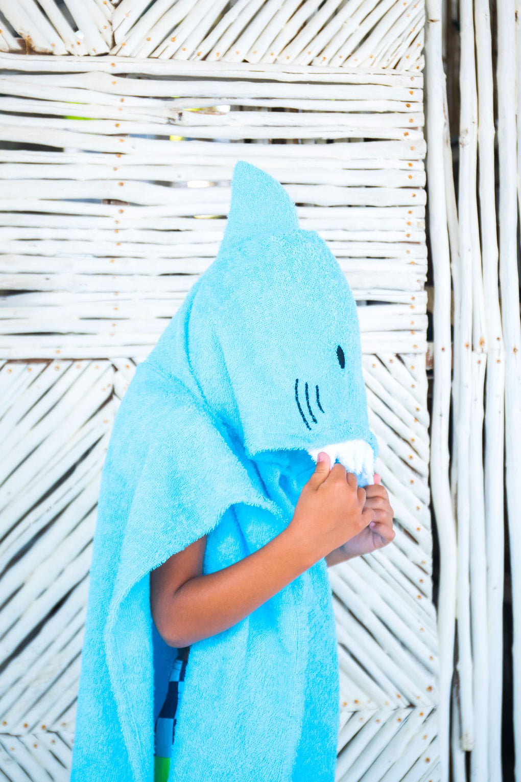 Shark Hooded Poncho Kids' Bath Towels SAVANA Blue