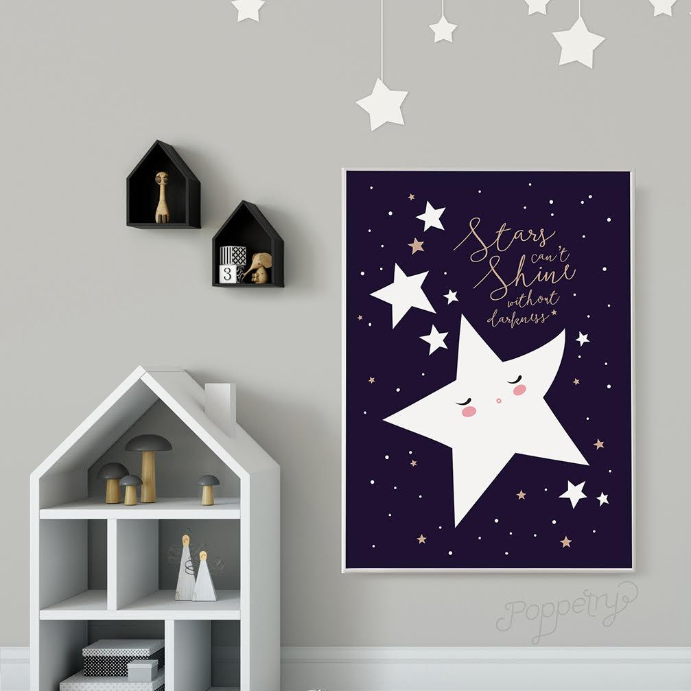 Shining Stars A4 Print Kids Prints Poppetry