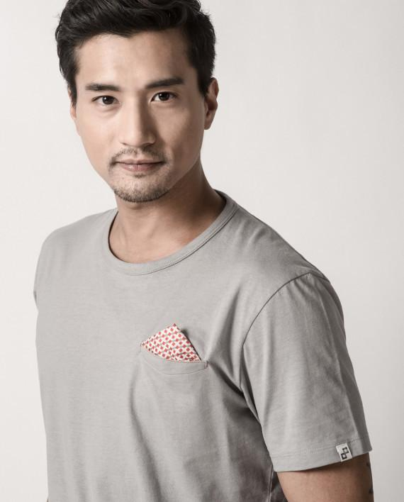 Shippo Collection - Cool Grey Pocket Square Tee - Men's T-shirts - Cut & Paste - Naiise