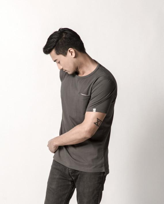 Shippo Collection - Forest Grey Pocket Square Tee - Men's T-shirts - Cut & Paste - Naiise