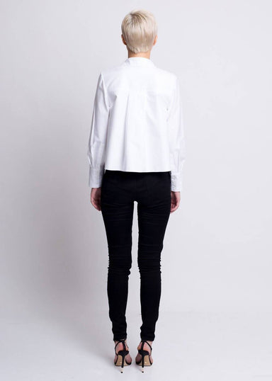 Shirt with Draped Opening - White - Tops - Silvia Teh - Naiise