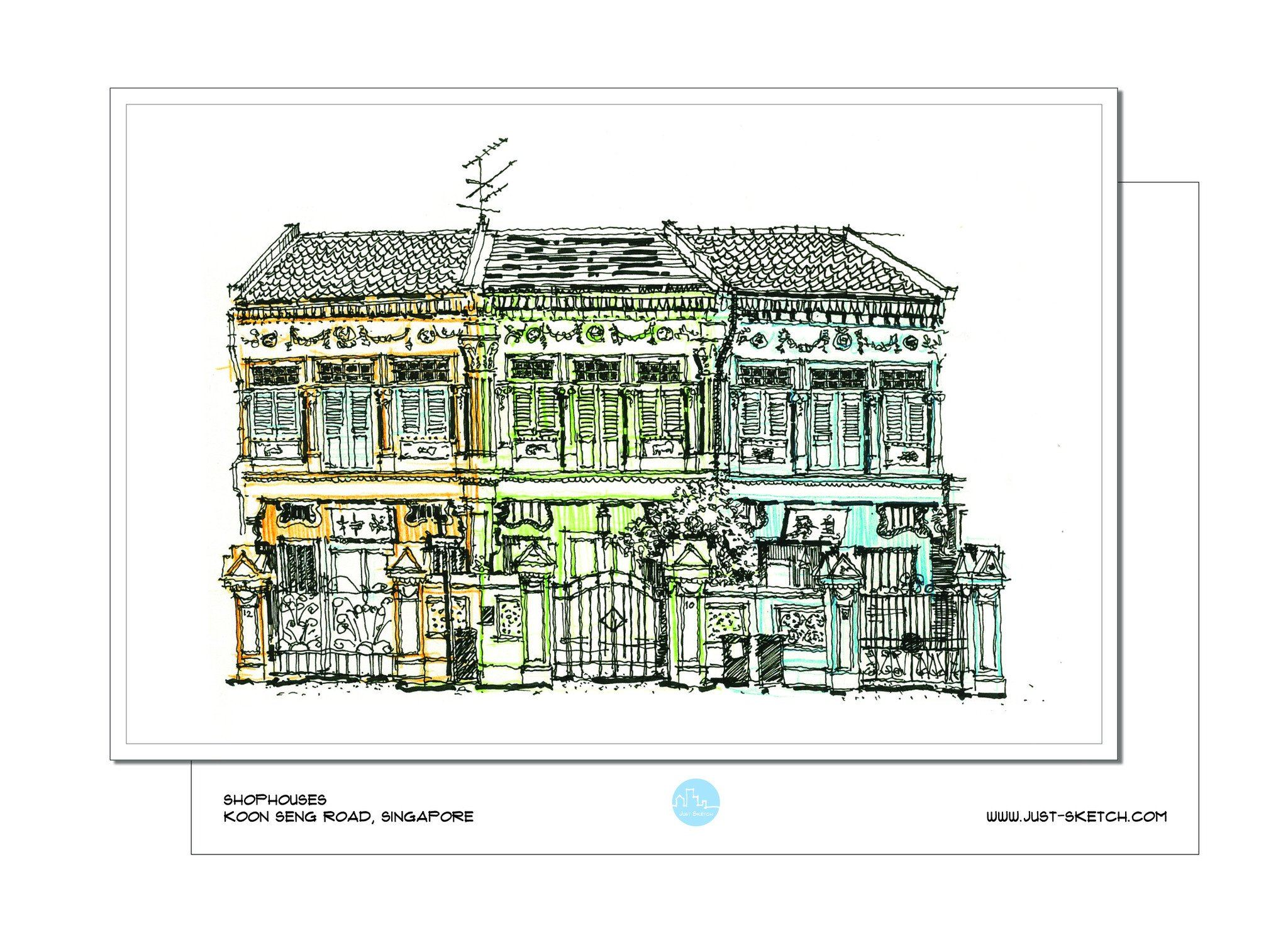 Shophouses Postcard - Local Postcards - Just Sketch - Naiise