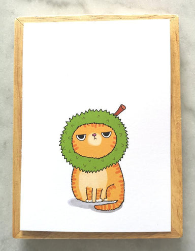 Silly Cat Head – Durian Cat Postcard Local Greeting Cards Steak & Eggs Please