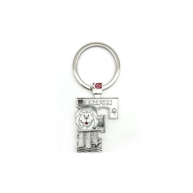 Silver Merlion Alphabet Keychain - F Local Keychains Guardian Angel