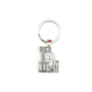 Silver Merlion Alphabet Keychain - L Local Keychains Guardian Angel