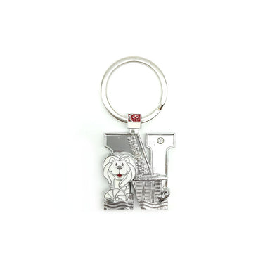 Silver Merlion Alphabet Keychain - N Local Keychains Guardian Angel