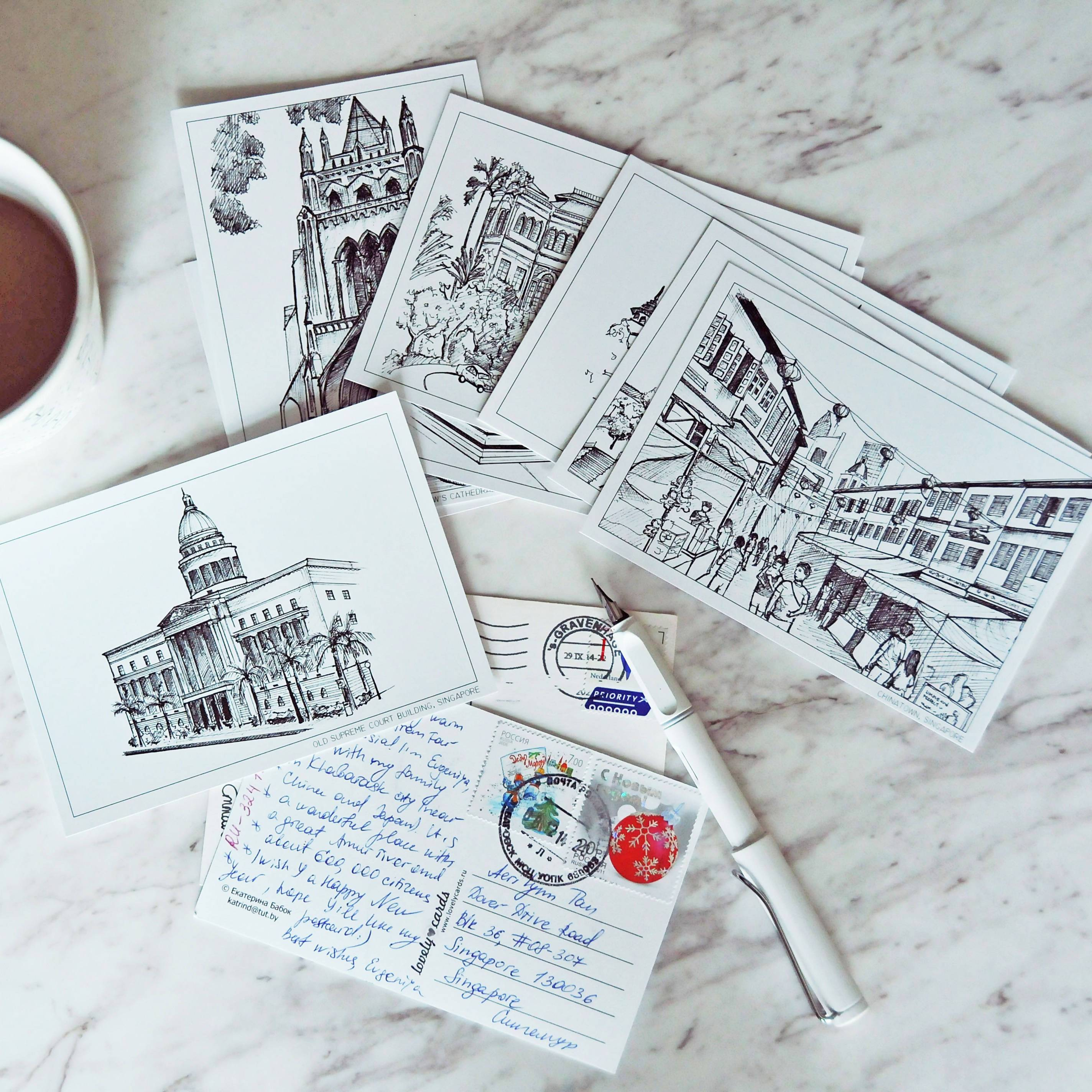 Singapore on Paper | B&W Postcards (Set of 8) - Local Postcards - Papercranes Design - Naiise