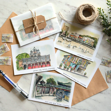 Singapore on Paper | Coloured Postcards (Set of 4) - Local Postcards - Papercranes Design - Naiise