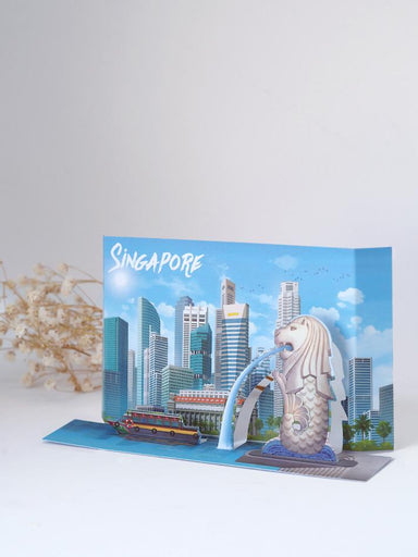 Singapore Popup Postcard: The Merlion and Singapore skyscaper - Local Postcards - Loka Made - Naiise