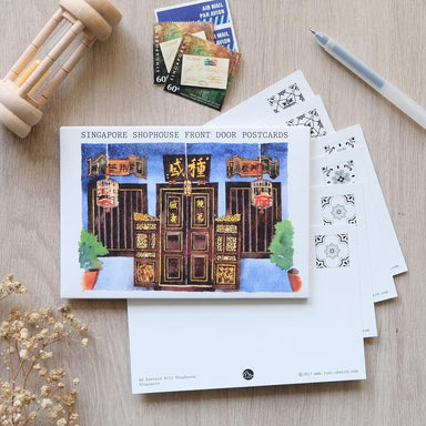 Singapore Shophouse Front Door Postcards Local Postcards Just Sketch