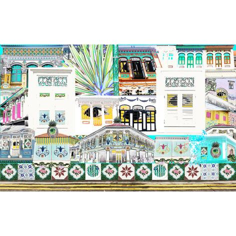 Singapore Shophouses Print Local Prints Hollis Carney Art