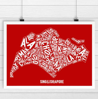 Singapore Singlish Text Map Print - Local Prints - Big Red Chilli - Naiise