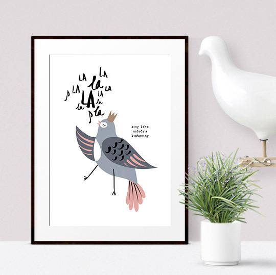 Singing Bird Print - Bea Kids Prints Poppetry