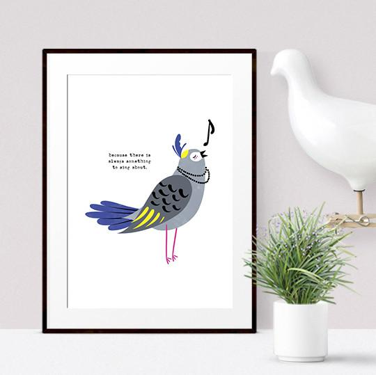 Singing Bird Print - Tilly Kids Prints Poppetry