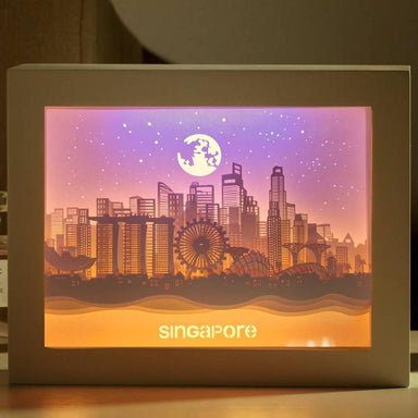 Skyline Singapore - Lighted Paper Frame DIY Crafts Blue Stone Craft Skyline Singapore