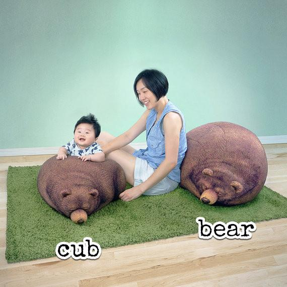 Sleeping Grizzly Cub Bean Bag (Pre-Order) - Bean Bags - Chic Sin Design - Naiise