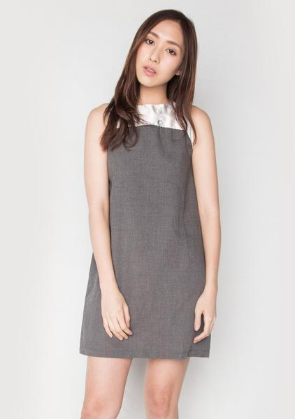 SLEEVELESS DUCHESS SATIN PANEL DRESSIN COTTON GREY (DRESS 3) - Dresses - Salient Label - Naiise