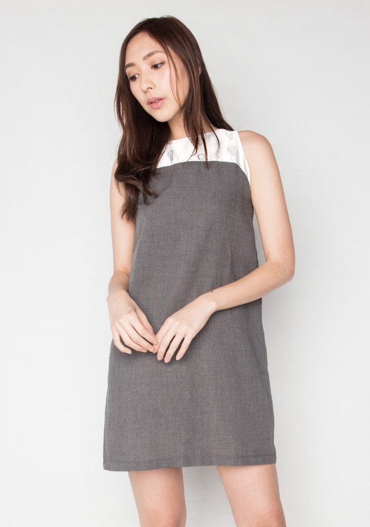 SLEEVELESS DUCHESS SATIN PANEL DRESSIN COTTON GREY (DRESS 3) Dresses Salient Label