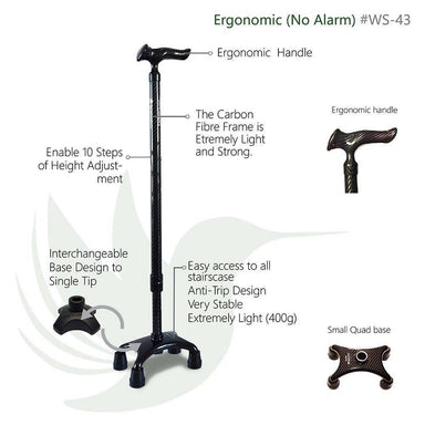 Small CarbonQuad (Smart Walking Sticks/ Cane/ Aid) Walking Canes Agegracefully Small CarbonQuad, Ergonomic (Smart Walking Sticks)
