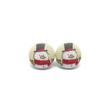 Snowman With Black Hat Handmade Fabric Button Christmas Earrings - Earrings - Paperdaise Accessories - Naiise
