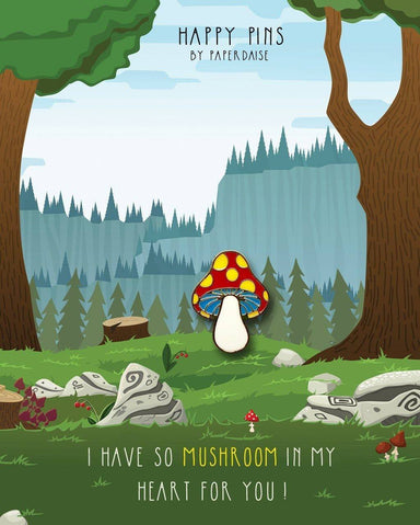 So Mushroom In My Heart For You Enamel Pin - Pins - Paperdaise Accessories - Naiise