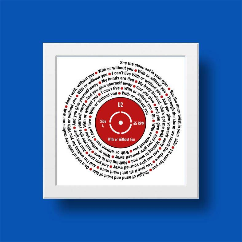 Song Lyrics Record Customised Print - Prints - Big Red Chilli - Naiise