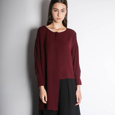 Sonya Hi-lo Hemline Button-down Top in Wine Women's Tops Salient Label