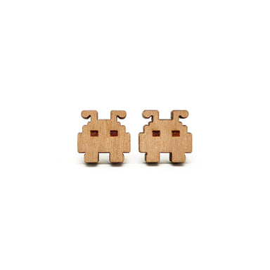 Space Invader Alien Laser Cut Wood Earrings - Earrings - Paperdaise Accessories - Naiise