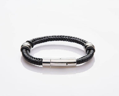 J. By Jee Spanish-braided Black Leather Bracelet - Men's Bracelets - J By Jee - Naiise