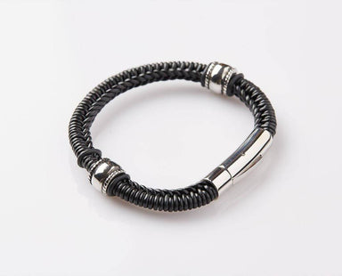 Spanish-braided Black Leather-JEM-316025-BLK Men's Bracelets J By Jee