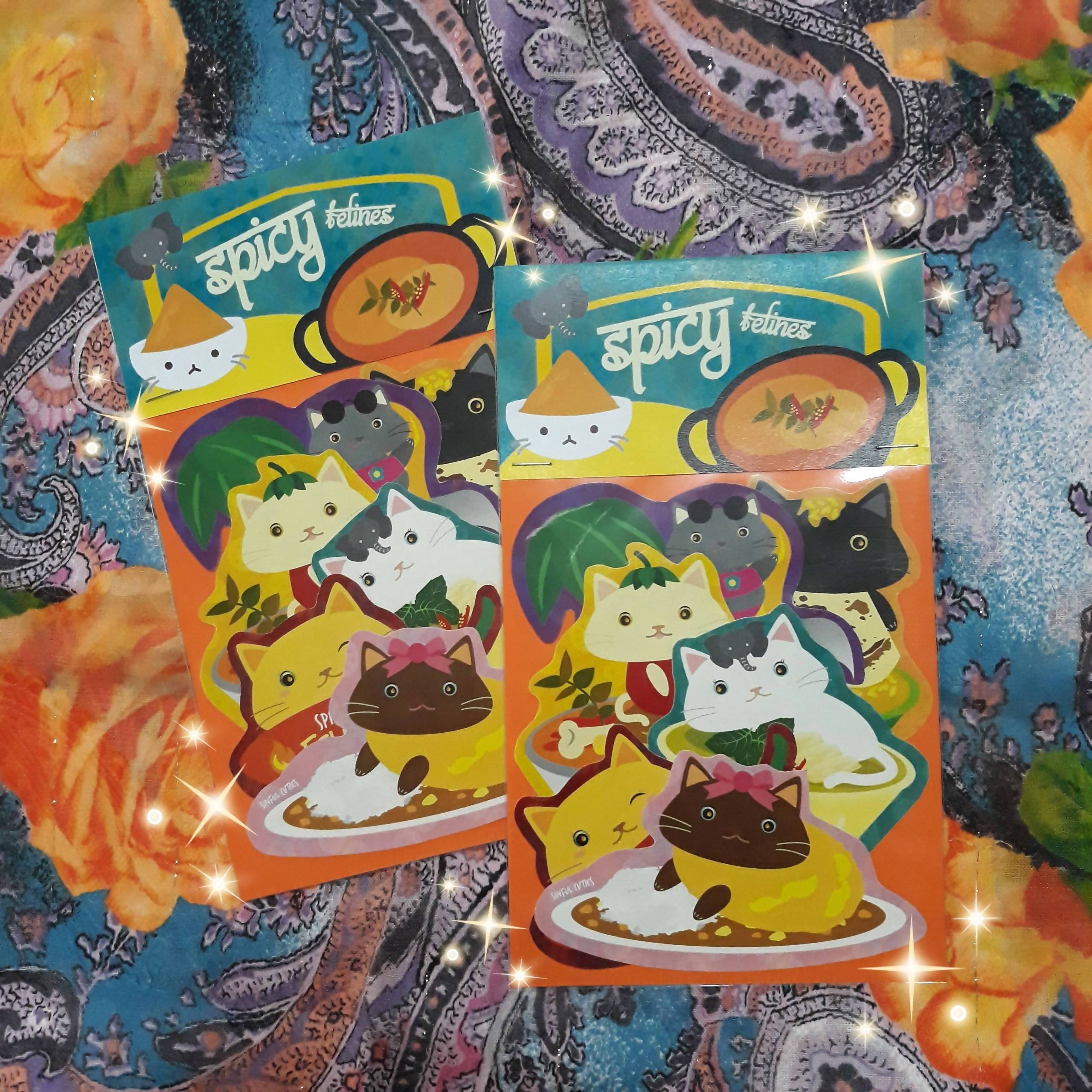 Spicy Curry Felines - 6 pcs Sticker Pack - Stickers - Sinful Cuties - Naiise