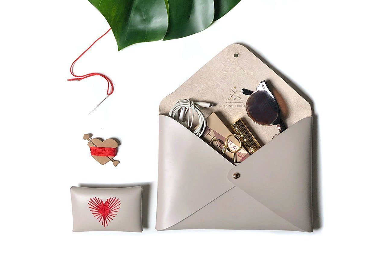 Stitch Heart Strings Envelope Purse - Pouches - Chasing Threads - Naiise