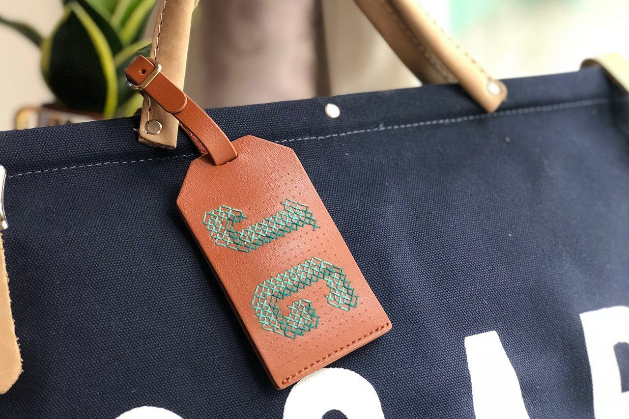 Stitch Luggage Tag Brown - Luggage Tags - Chasing Threads - Naiise