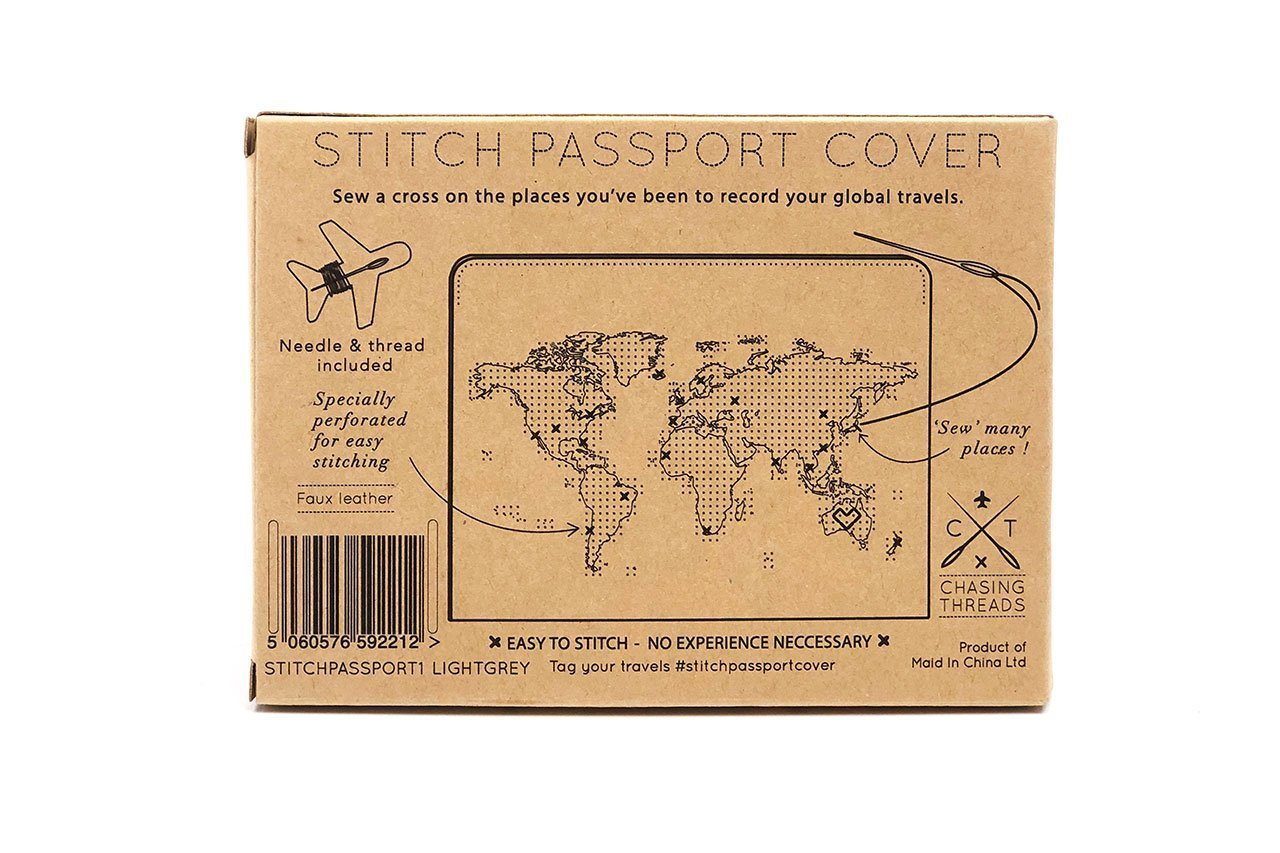 Stitch Passport Cover  Light Grey PU - Passport Holders - Chasing Threads - Naiise